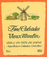 étiquette De Fine Calvados Vieux Moulin - 70 Cl - 40 °/° - Etichette