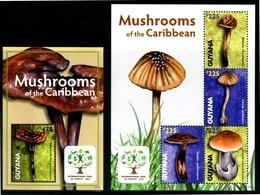 "GUYANA 2011 - Funghi / Mushrooms - ""International Year Of Forests 2011"" - Miniblock + Block Di 4 Val. MNH. - Funghi"
