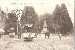 Dépt 13 - MARSEILLE - Les Allées Et Le Monument Des Mobiles - L. R. - (tramways, Tramway) - Canebière, Centre Ville