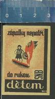 FIRE PREVENTION BRANDSCHUTZ PROTECTION CONTRE L'INCENDIE OLD 1947 Matchbox Label FORMER CZECHOSLOVAKIA - Boites D'allumettes - Etiquettes