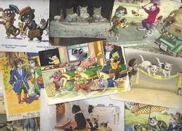 Lot 1434 De 10 CPA Chat Cat Dont Position Humaine Déstockage Pour Revendeurs Ou Collectionneurs - Postcards