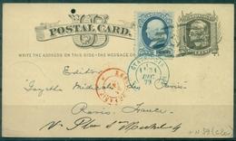 USA Carte 1 C Noir + TP N° 39 Bleu Oblit Bleue 31 Dec 1879 Arr Paris Ct Rouge Des Rebuts. - Entiers Postaux
