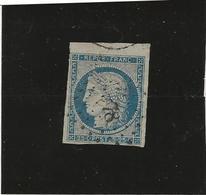 TIMBRE CERES N° 4 -OBLITERE AVEC PETIT BORD DE FEUILLE SUPERIEUR -LEGER AMINCI - COTE: 65 €  ANNEE 1850 - 1849-1850 Ceres