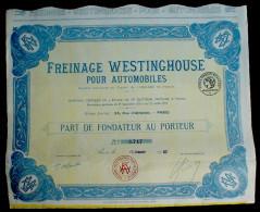 Freinage Westinghouse Pour Automobiles Part De Fondateur 1923 - Automobile