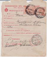 1925 RICEVUTA DI RITORNO RACCOMANDATA CON 3 VALORI MICHETTI DA 20 CENTESIMI - Storia Postale