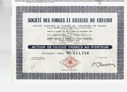 LE CREUSOT UNE VILLE-USINE MODELÉE PAR LA DYNASTIE SCHNEIDER  V. HISTORIQUE ACTION 10.000 FRES 1953 B.E. - Industrie