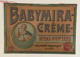 VINTAGE BABYMIRA  CREME  TIN  SIGN   PLAQUE  CZECH REPUBLIC LANGUAGE   33 X 23 Cm - Wash & Clean