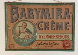 VINTAGE BABYMIRA  CREME  TIN  SIGN   PLAQUE  HUNGARIAN LANGUAGE   33 X 23 Cm - Nettoyage
