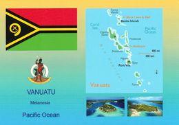 1 AK Vanuatu * Flagge - Wappen - Landkarte Und 2 Ansichten Von Vanuatu * - Vanuatu