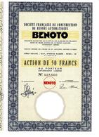 MAIS QU'EST DONC DEVENUE BENOTO TRAVAUX PUBLICS IMPLANTEE  A BETHUNE  EN  1959 ?? ACTION  50 FRS VOIR SCANS - Industrie