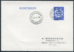 1974 Sweden Lettercard Stationery Kortbrev Alvsnabben Orlogspost Warship - Sweden