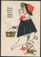 1962 Sweden Stockholm Barnens Dag Postcard. Bird Pig - Sweden