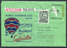 1972 Sweden Barnens Dag Kumla Ballongpost Gabriella Ballon - Hove,  England. Aerogram - Sweden