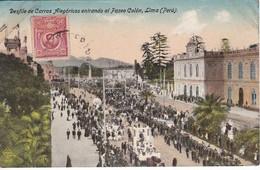 POSTAL DE LIMA DEL DESFILE DE CARROS ALEGORICOS ENTRANDO AL PASEO COLON DEL AÑO 1925 (PERU) - Perú