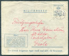 1944 Sweden Militarbrev Fieldpost Stationery Cover. Faltpost 107 - Military