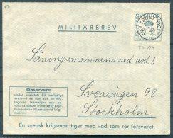1942 Sweden Militarbrev Fieldpost Stationery Cover. Faltpost 119 - Military