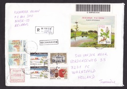 Belarus: Cover To Netherlands, 1998, 7 Stamps & Meter, Souvenir Sheet, Flower, Stork Bird, Telephone (traces Of Use) - Wit-Rusland