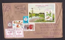 Belarus: Cover To Netherlands, 1998, 5 Stamps & Meter, Souvenir Sheet, Flower, Stork Bird, Olympics (left Stamp Damaged) - Wit-Rusland
