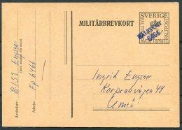 1953 Sweden Militarbevkort Stationery Postcard. Fieldpost Faltpost 6464 - Military