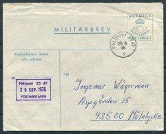 1976 Sweden Militarbrev Stationery Cover Fieldpost Faltpost Postverket Postmastaren 3547 - Military