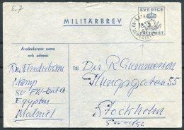 1962 Sweden United Nations Egypt UNEF FN Militarbrev Stationery Cover - Military