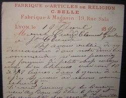 1890 Lyon C. Belle, Articles De Religion Entier Postal Pour Saint Claude (Jura) Avec Repiquage, Voir Photos - 1877-1920: Période Semi Moderne