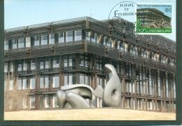 CM-Carte Maximum Card # 1987-Luxembourg #  Europa  CEPT # Architecture # Cour De Justice,sculpture By Henry Moore - Europa-CEPT