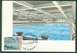 CM-Carte Maximum Card # 1987-Monaco  #  Europa  CEPT # Architecture # Piscine  Prince Albert , Schwimmbad,swimming Hall - Europa-CEPT