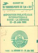 """CARNET 2219-C 1a Liberté De Delacroix """"PHILEXFRANCE 82"""" Carnet 20 Timbres Fermé Avec Point Sur Le """"X"""". TRES RARE. - Carnets"""