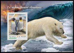 NIGER 2018 MNH** Penguins Pinguine Pingouins Global Warming S/S - OFFICIAL ISSUE - DH1839 - Pinguïns & Vetganzen