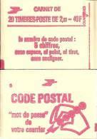 """CARNET 2274-C 4 Liberté De Delacroix """"CODE POSTAL"""", Fermé Bas Prix Parfait état RARE - Carnets"""