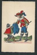 Imagerie Pellerin D' Epinal Sur Velin Des Papeteries D'Arches:carte Double 16cm X 10.5cm: Le Chat Botté - Vieux Papiers