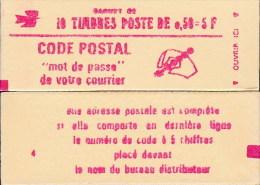 """CARNET 1664-C 7 Marianne De Bequet """"CODE POSTAL""""  Daté 12/6/74 Fermé. Parfait état RARE. - Usage Courant"""