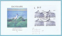 Denmark; 1975; Endangered Species; Pied Avocet; WWF Issue; Block Of 4 With Margin Number On FDC With Panda Postmark - FDC
