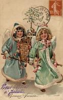 BONNE ANNEE  -  Carte Postale En Relief - Dessin D'angelots Transportant Des Présents - Neujahr