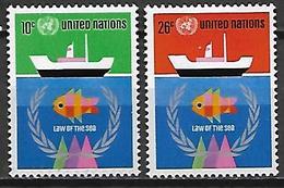NATIONS - UNIES    -    1974 .  Y&T N° 247 / 248 * .   Droits De La Mer  /  Pêche  / Bateau - New York -  VN Hauptquartier