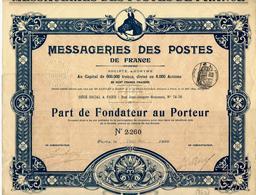 1899 RARE PART DE FONDATEUR MESSAGERIES DES POSTES DE France PARIS V.COTATION ET HISTORIQUE - Transports