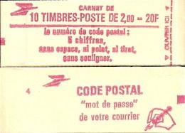 """CARNET 2274-C 2a Liberté De Delacroix """"CODE POSTAL"""" Daté 15/6/83 Conf. 5 Fermé. Bas Prix Parfait état TRES TRES RARE - Usage Courant"""