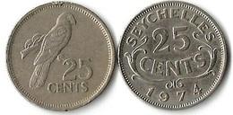 Lot 2 Pièces De Monnaie  25 Cents SEYCHELLES - Seychelles