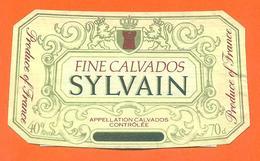 étiquette + Collerette + Etiq De Dos De Fine Calvados Sylvain - 70 Cl - 40 °/° - Etichette
