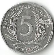 Lot 1 Pièce De Monnaie  5 Cents 2004 Caraîbes - East Caribbean States