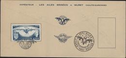 Exposition Nationale Souvenirs Aéronautiques Poste Aérienne Paris 50tenaire 1er Vol Mécanique Satory Ader Ailes Brisées - Storia Postale