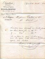PAPETERIE EN TOUS GENRES.BILLON & MONFRAY.LYON.DEPOT A MOIRANS.ISERE.TIMBRE & CACHET 1876. - Imprimerie & Papeterie