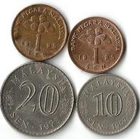 Lot 4 Pièces De Monnaie  1- 10 Et 20 Sen  Malaisie - Malaysia