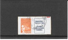 FRANCE 1997  MARIANNE DU 14 JUILLET   TIMBRE AUTOADHESIF CACHET ROND   Y&T: N° 16a + VIGNETTE - France