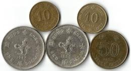 Lot 5 Pièces De Monnaie  10 - 50 Cents Et 1 Dollar - Hong Kong