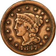 Monnaie, États-Unis, Braided Hair Cent, Cent, 1847, U.S. Mint, Philadelphie - Emissioni Federali