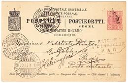1897 10p. Ganzsachenkarte Aus Helsingfors Nach Paris Mit Schiffsstempel Und Retour A L'envoyeur - 1856-1917 Russian Government