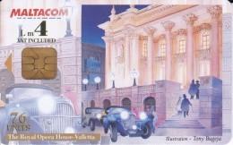 TARJETA DE MALTA DE THE ROYAL OPERA HOUSE DE LA VALLETTA LM4  (COCHE-CAR) - Malta