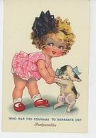 """ENFANTS - LITTLE GIRL - CHIENS - DOG - Jolie Carte Fantaisie Fillette Avec Chien """"Inséparables """" - Chiens"""